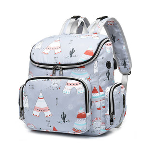 Mommy Tribe Diaper Bag Pack - Grey - Side pose