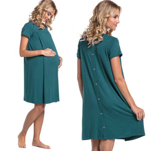 Turquoise Maternity and Nursing Nightwear Dress