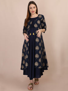 Navy Blue Gold Foil Maternity and Nursing Kurti - Front