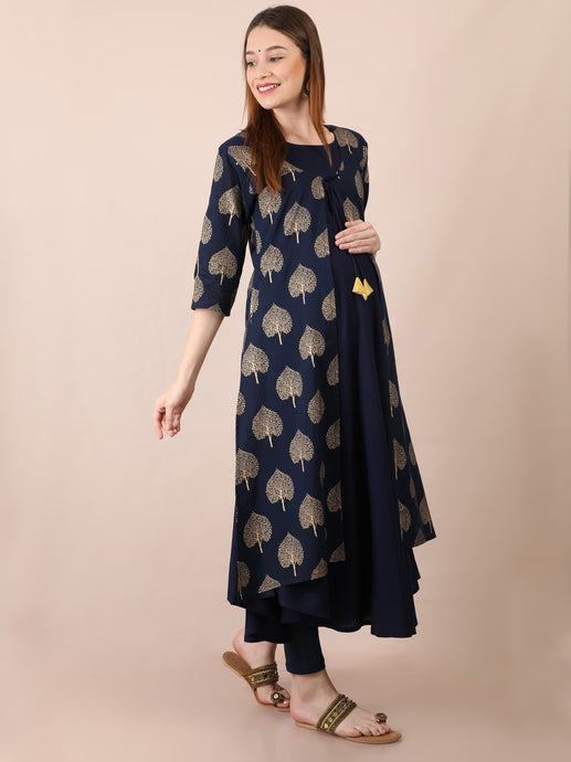 Navy Blue Gold Foil Maternity and Nursing Kurti