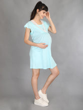 Lace Turquoise Maternity and Nursing Casual Dress