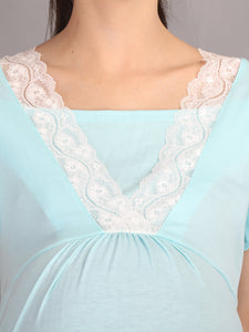 Lace Turquoise Maternity and Nursing Casual Dress - Neck View
