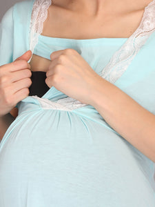 Lace Turquoise Maternity and Nursing Casual Dress - Zoom View