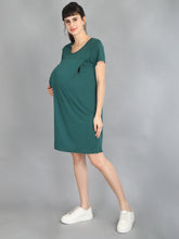 Bottle Green Maternity and Nursing Dress