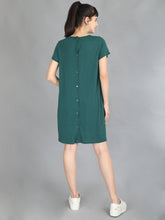 Bottle Green Maternity and Nursing Dress - Back View
