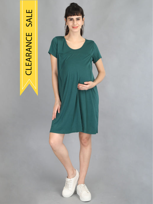 Bottle Green Maternity and Nursing Dress - Clearance