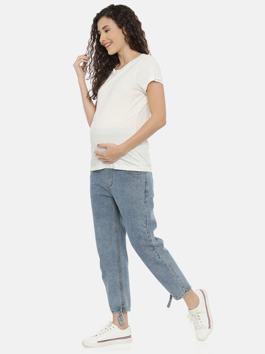 Casual Blue Denims with Belly Support Comfort