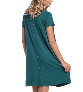 Turquoise Maternity and Nursing Nightwear Dress- Back