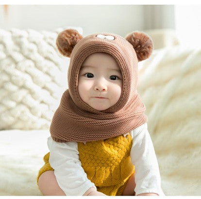 Pom Pom Baby Winter Cap With Muffler - Brown