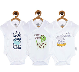 Baby Onesie Combo of 3 : Baby Panda-Little Dino-Hello World