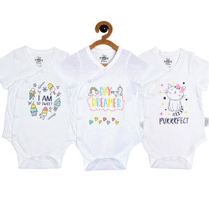 Baby Onesie Combo of 3 : I Am So Sweet-Day Dreamer-Purrrfect