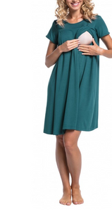 Turquoise Maternity and Nursing Nightwear Dress- Nursing