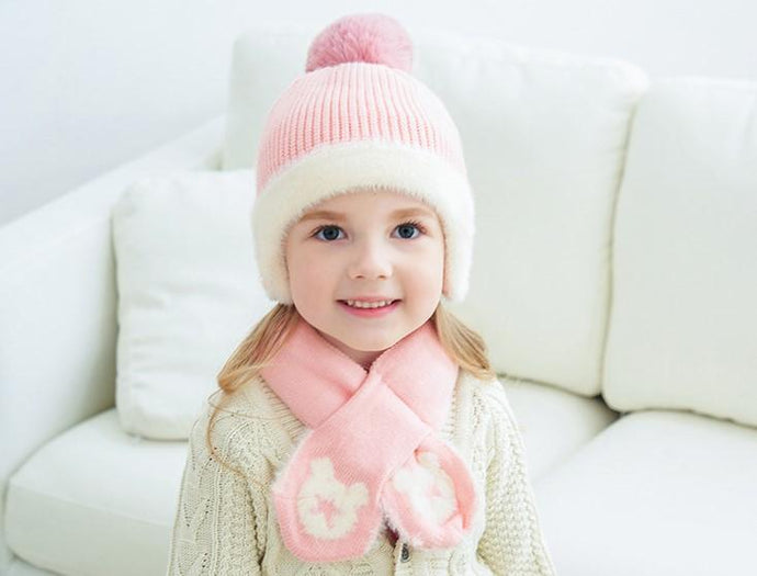 Mickey Woolen Baby Winter Cap With Muffler - Pink