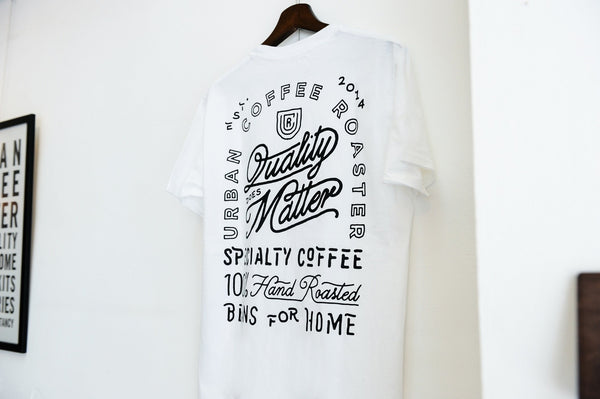 UCR Quality Does Matter T-SHIRT (White) - Urban Coffee Roaster