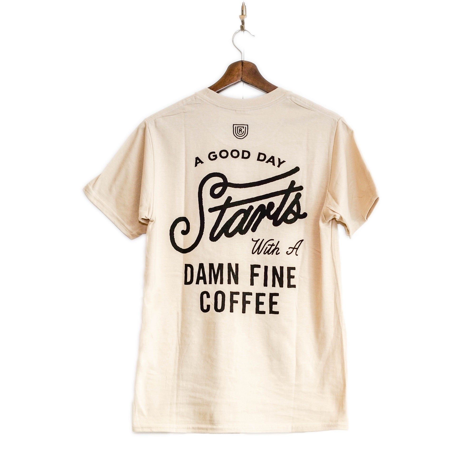 UCR A Good Day Starts With A Damn Fine Coffee T-SHIRT (Beige) - Urban Coffee Roaster