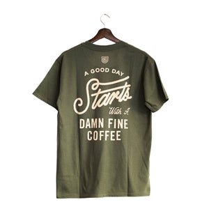 UCR A Good Day Starts With A Damn Fine Coffee T-SHIRT (Green)