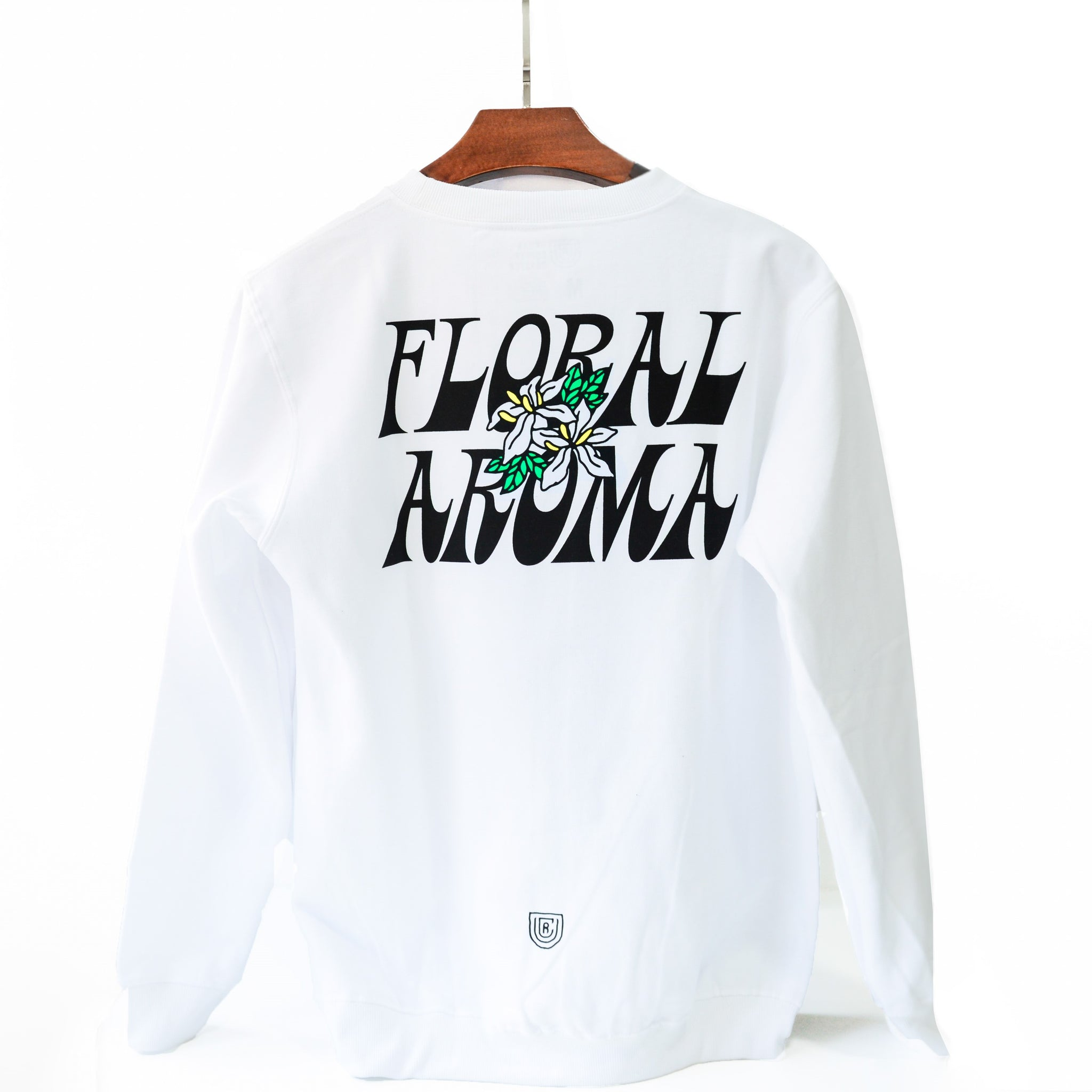 UCR FLORAL AROMA SWEAT SHIRT (White) - Urban Coffee Roaster