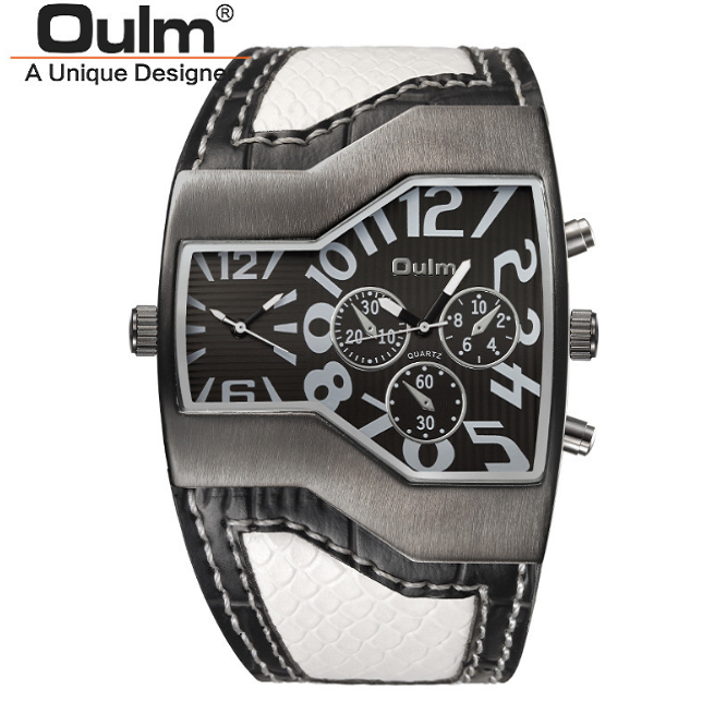OULM European Wide Leather Strap Watch -- WW-23