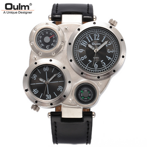 Oulm Compass Two-Time-Zone Wrist Watch -- WW-24