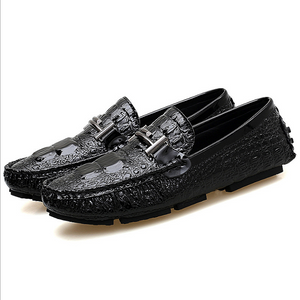 Men's Glossy Patterned Casual Leather Shoes-CS-3