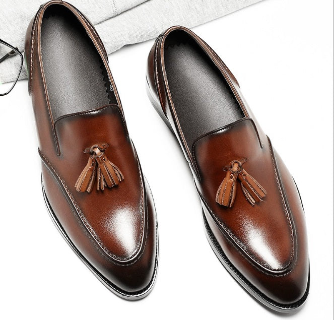 High class Men's Tassels Business Leather Shoes With Rounded Tip-Sh-1