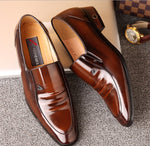 REEHEMES Glossy Men's Business and Dress Leather Shoes-Sh-5