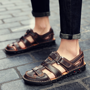 Patterned Thread Men's Summer Leather Sandals--SnP-1