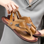 Cool Elegance Men's Convertible Leather Sandals Slippers--SnP-11