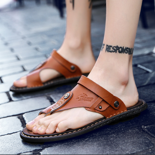 Men's Summer Leather Convertible Sandals Slippers--SnP-3