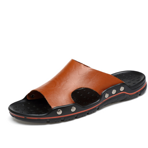 Men's Rugged Summer Non-Slip Leather Slippers--SnP-6