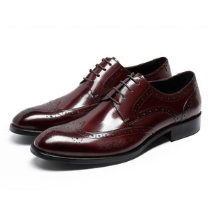 Solid Men's Business Brogue Leather Shoes With Laces-Sh-3