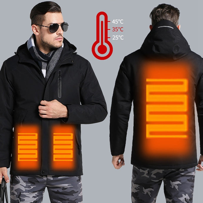 Men's Women's Winter Thick USB Heating Jacket Waterproof Hooded