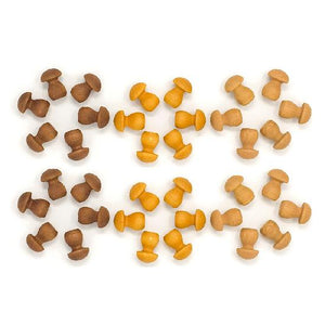 Wood Mandala Mushrooms 36 pcs (Browns)