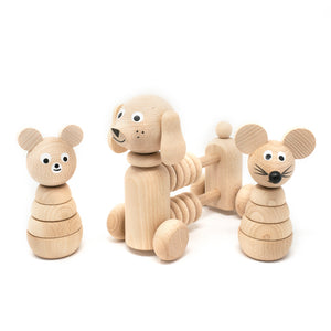 Wooden Toy Abacus Push Puppy and stacking wooden toys