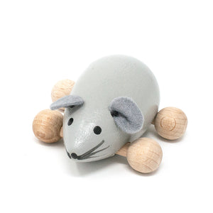 Wooden Push Along Grey Mouse