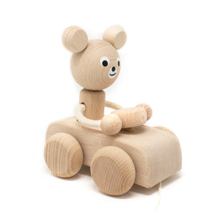 Wooden Pull Along Bear in Car