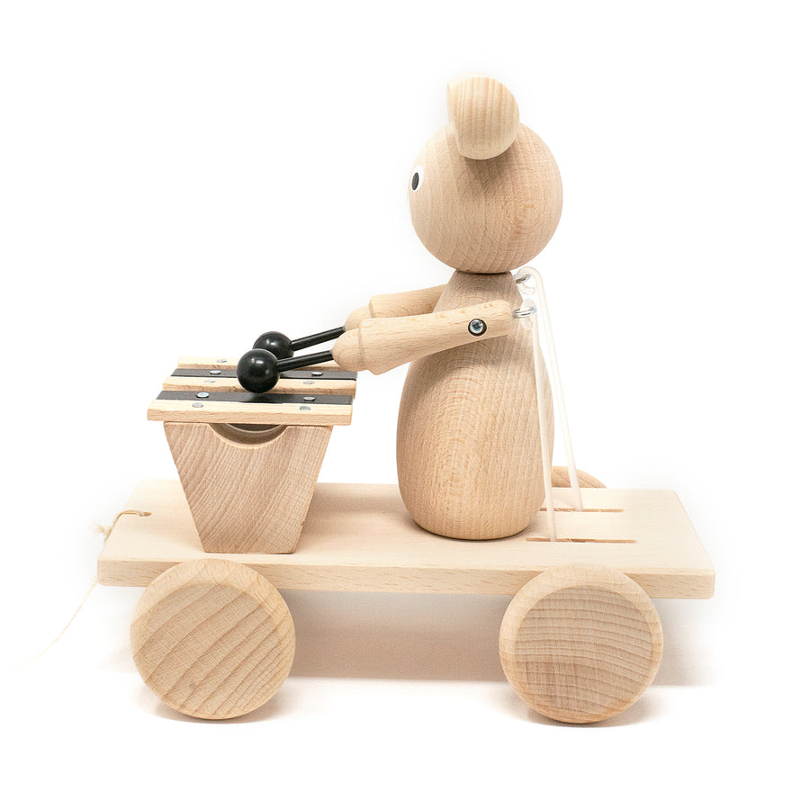 Wooden Pull Along Bear with Xylophone