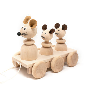 Wooden Pull Along Mice