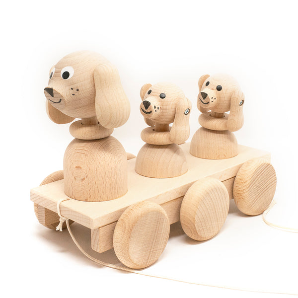 Wooden Pull Along Puppies