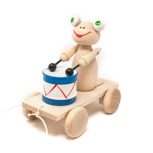 Wooden Pull Along Frog with Drum