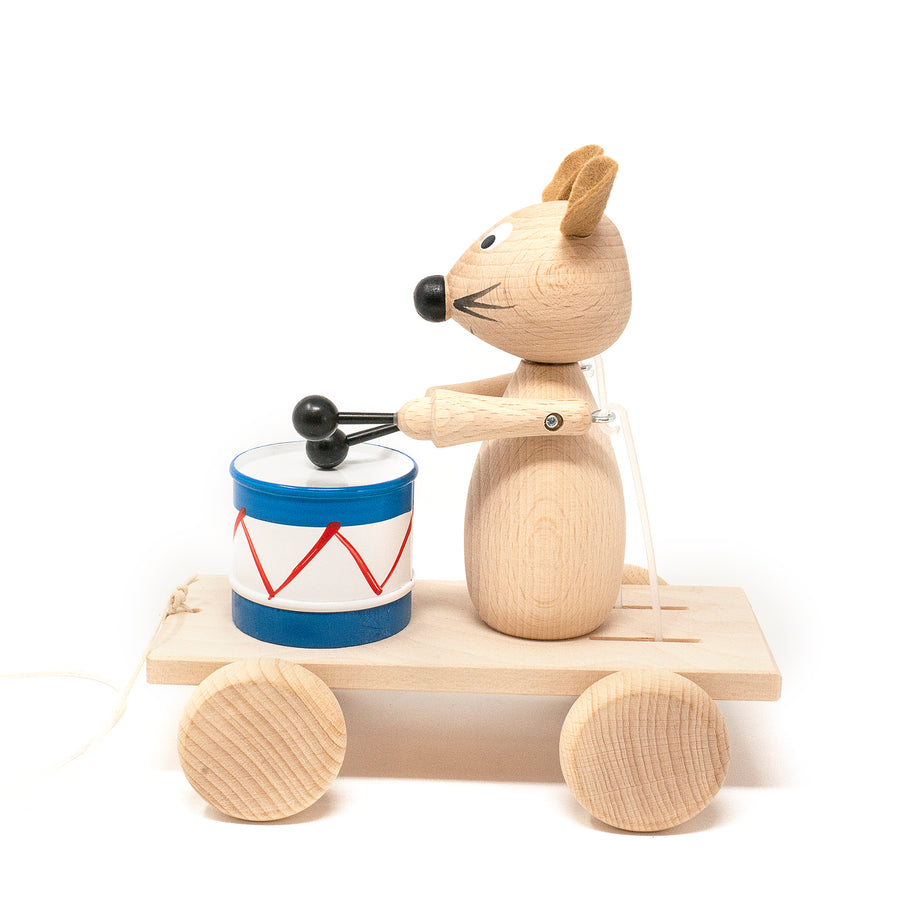 Wooden Pull Along Mouse with Drum