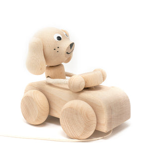Wooden Pull Along Puppy in Car
