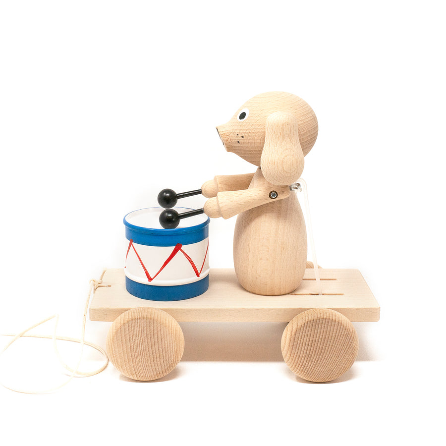 Wooden Pull Along Puppy with Drum