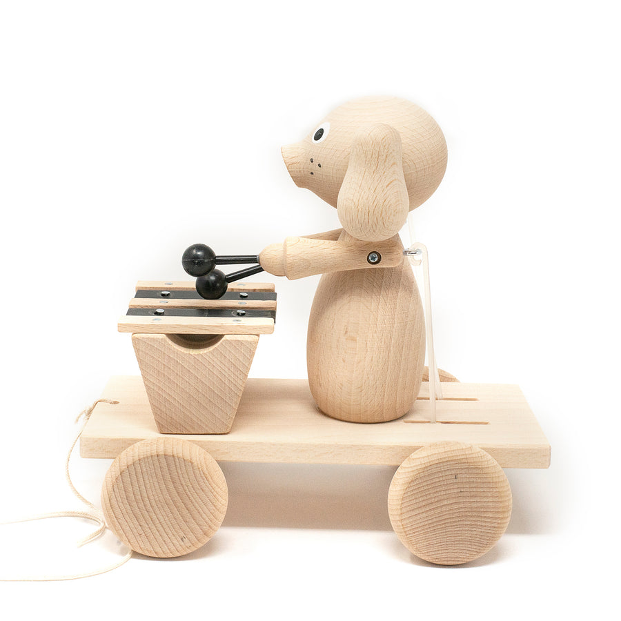 Wooden Pull Along Puppy with Xylophone