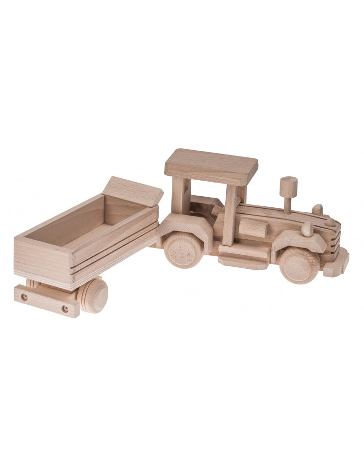 Wooden Toy Tractor and Trailer