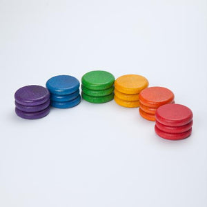 Wood Coloured Coins 18 pcs (6 colours)