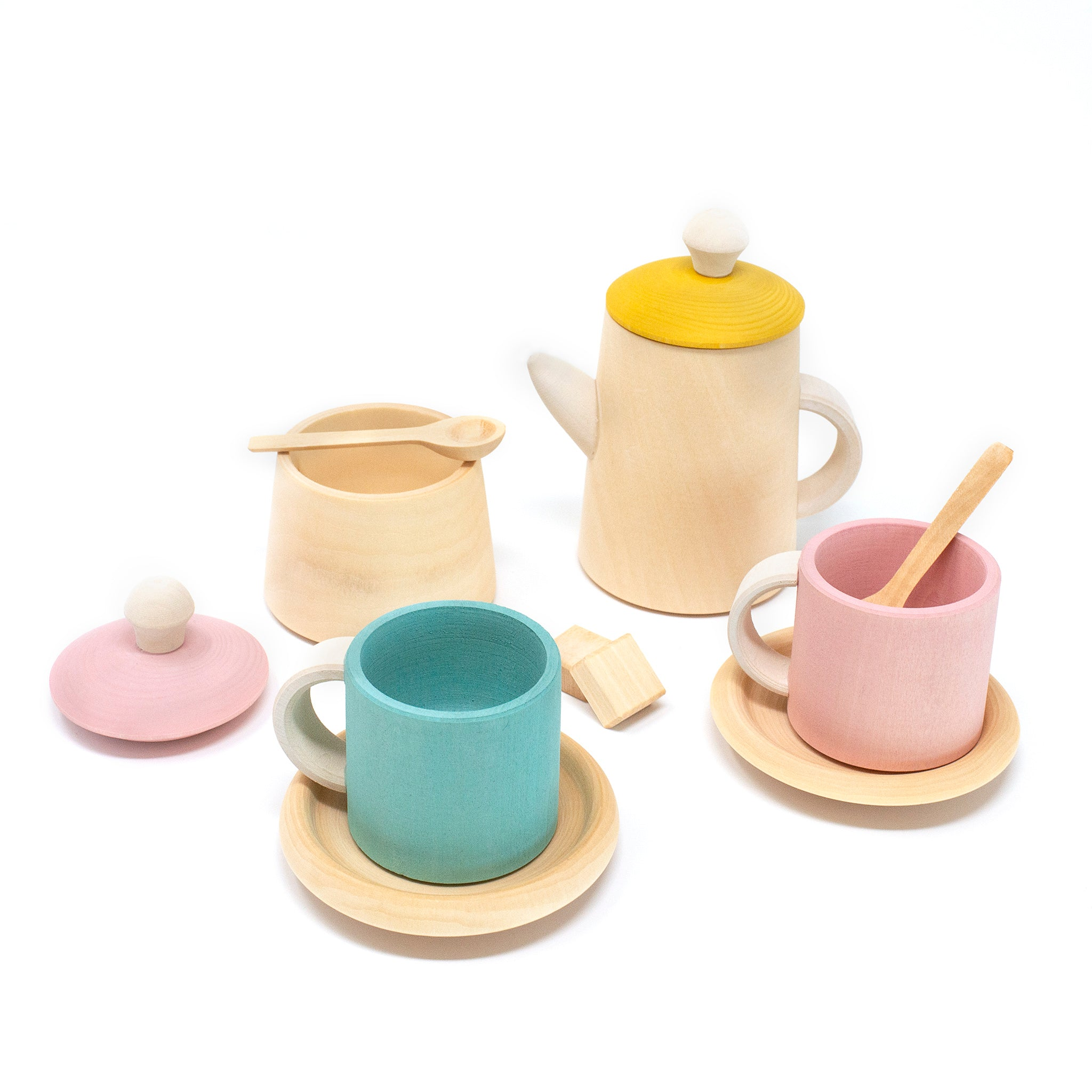 Pastel Wooden Toy Tea Set