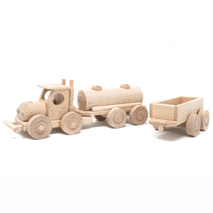 Wooden Semi with Two Cargo Trailers