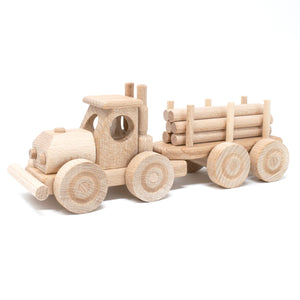 Wooden Semi & Trailer