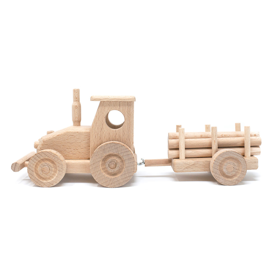 Wooden Farm Tractor & Trailer